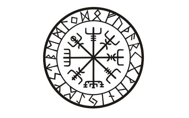 Vegvísir con runas