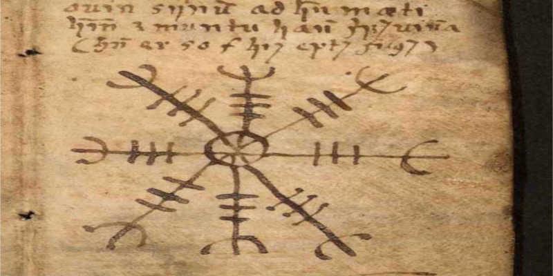 Ægishjálmur dibujado en el libro de magia islandés Galdrabók