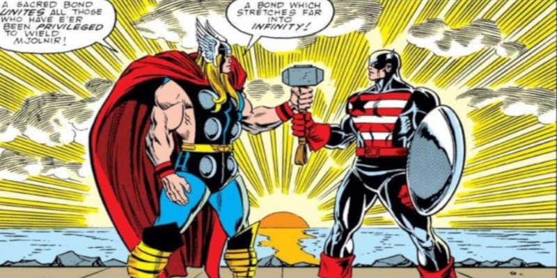 Captain América y Thor con el martillo