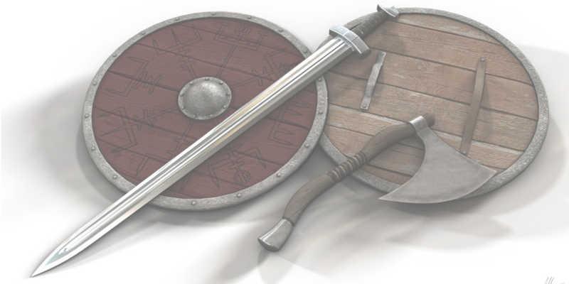 Escudos y otras armas vikingas