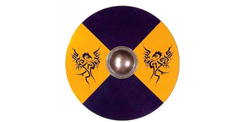 Recreación moderna de escudo vikingo con umbo central