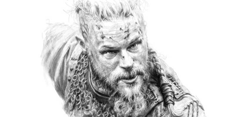 Tatuaje vikingo de Ragnar en blanco y negro tatuajes vikingos