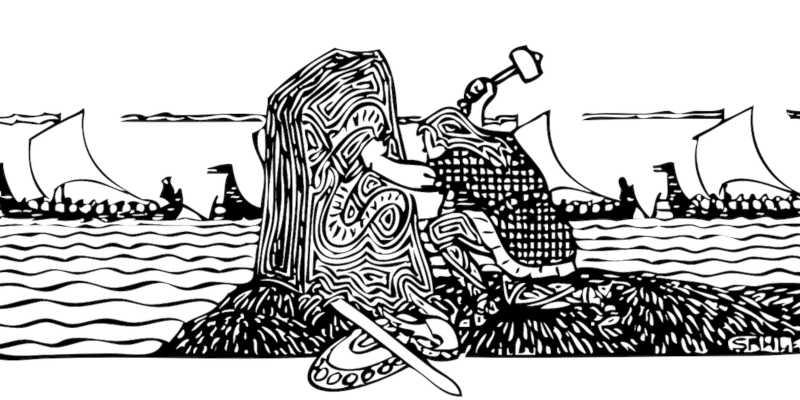 Vikingo tallando una piedra rúnica
