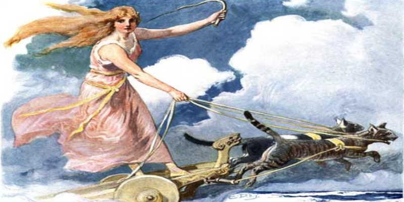 Diosa Freyja en su carro